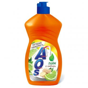 Жидкость для мытья посуды, лайм и имбирь AOS, 450 мл., ПЭТ