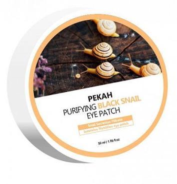 Патчи для глаз омолаживающие с муцином черной улитки Pekah, 90 гр., пластиковая банка