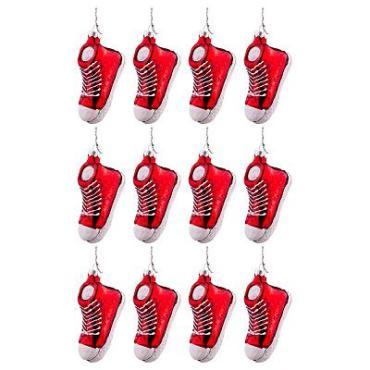 Набор елочных игрушек, 12 штук, 8,5x3,5x5 см., Lefard Красные кроссовки