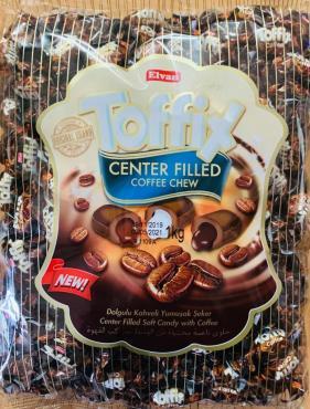 Жевательные конфеты со вкусом кофе Elvan Toffix, 1 кг., пластиковый пакет