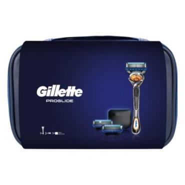 Подарочный набор, с чехлом для бритвы, в премиальной косметичке Gillette Proglide, текстильная упаковка