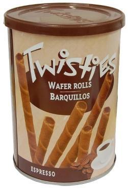 Вафли Twisties палочки с кофейным кремом эспрессо, 400 гр., ж/б