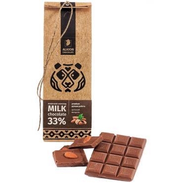 Шоколад молочный с цельным миндалём Alkion, 100 гр., бумажная упаковка
