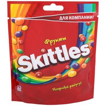 Драже в сахарной глазури с ароматами лимона-лайма-апельсина-клубники-черной смородины Skittles Фрукты, 160 гр., дой-пак