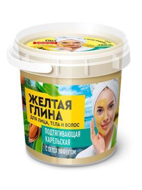Глина для лица, тела, волос Народные Рецепты, Organic Желтая карельская Подтягивающая, 155 мл., пластиковая банка