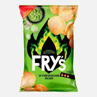 Чипсы FRY'S из натурального картофеля рифленые вкус Жгучий японский васаби, 80 гр., флоу-пак