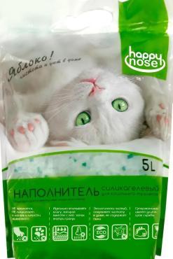 Наполнитель Happy Nose с-гель зеленые гранулы Яблоко 5 л., ПЭТ