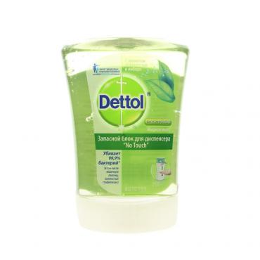 Запас блок антибактериального жидкого мыла  Dettol с ароматом зеленого чая и имбиря , RECKITT BENCKISER HEALTH, 250 мл., ластиковая бутылка