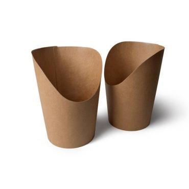 Упаковка для картофеля фри, снеков, поп-корна, 130*75*75 мм, крафт