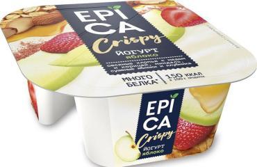 Йогурт Яблоко смесь мюсли 5,7% Epica Crispy 140 гр., Пластиковый стакан