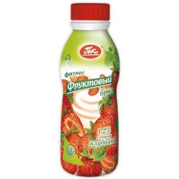 Йогурт Фруктовый бриз 1,2% с соком клубники, Гек, 400 гр, ПЭТ