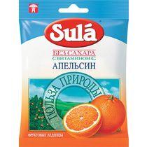 Конфеты Sula Карамель леденцовая без сахара с витамином С Апельсин 60 г.