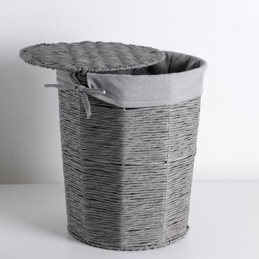 Корзина универсальная Доляна Классик 38,5х38,5х47 см. круглая плетеная серый