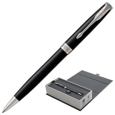 Ручка шариковая Parker Sonnet Core Lacquer Black CT, корпус черный глянцевый лак, палладиевые детали, черная