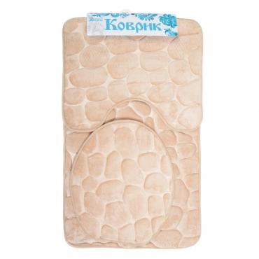 Набор ковриков для ванны и туалета Доляна Галька 36х42 см., 40х50 см., 50х80 см. бежевый 3 шт.