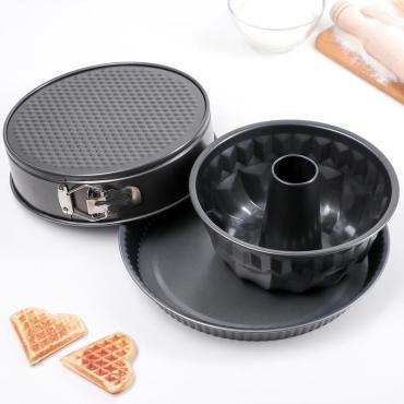Набор форм для выпечки Доляна Кекс круг тарт антипригарное покрытие 3 шт.