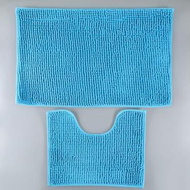 Набор ковриков для ванны и туалета Доляна Букли 40х50см., 50х80 см. синий 2 шт.