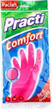 Перчатки Paclan Practi.Comfort резиновые розовые
