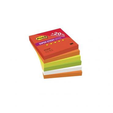 Блоки POST-IT Super Sticky, Огонь, ассорти самоклеящиеся стикеры 76х76 мм, комплект 6х90 л.