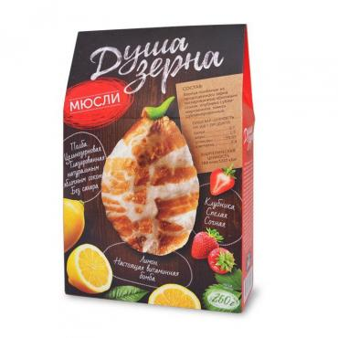 Мюсли из пророщенной полбы с лимоном и клубникой, Образ Жизни, 260 гр., картонная коробка
