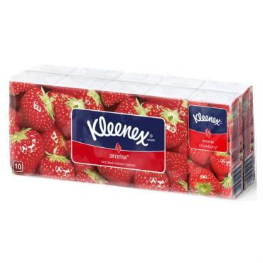 Платки носовые бумажные с ароматом клубники Kleenex, 207 гр., пластиковый пакет