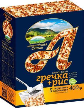 Смесь круп гречка+рис в пакетах для варки, Алтайская Сказка, 400 гр., картонная коробка