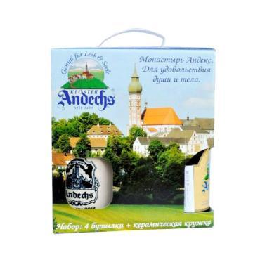 Пиво Andechs Weissbier Dunkel темное нефильтрованное пшеничное 5% Набор 4шт. + кружка