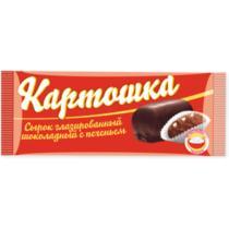 Сырок Картошка ванильный, с печеньем, глазированный Челны Холод, 40 гр., Флоу-пак