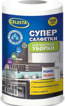Супер-салфетки Celesta Для быстрой уборки 25х25 см В рулоне 150шт