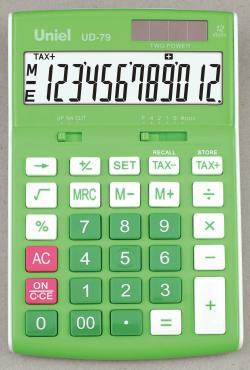 Калькулятор 12 разрядный зеленый Uniel UD-79, 210 гр.