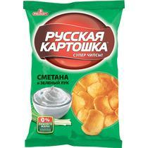 Чипсы Сметана с луком, Русская картошка, 95 гр, флоу-пак