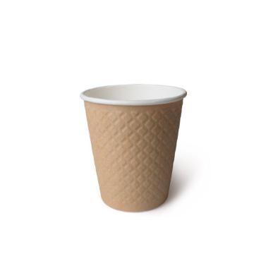 Бумажный стакан с конгревом, 250 мл (макс. 280 мл), двухсл., крафт