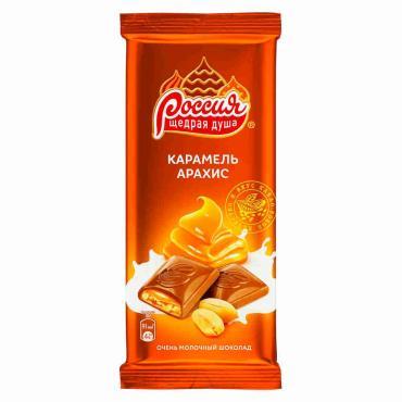 Шоколад Россия Щедрая Душа Золотая Марка Карамель Арахис