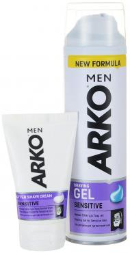 Гель Arko для бритья Men Sensitive + Крем Arko после бритья Men Sensitive