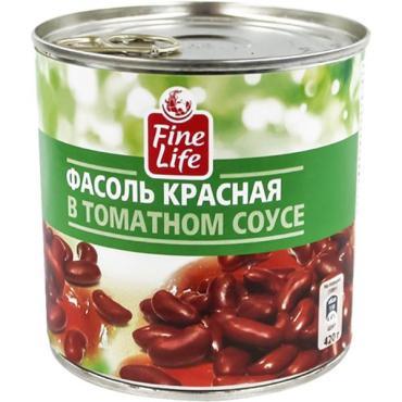 Фасоль Fine life красная в томатном соусе