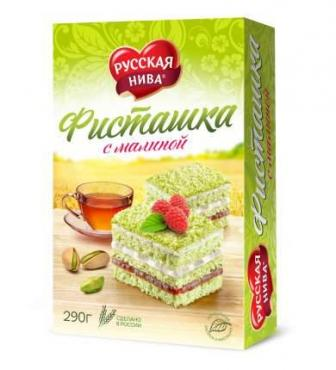 Торт Русская нива Фисташковый с малиной