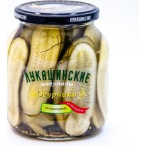 Огурцы бутербродные маринованные по-европейски Лукашинские, 670 гр., стекло