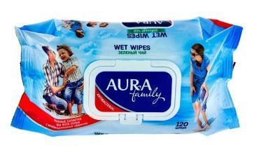 Влажные салфетки Антибактериальные 120 шт., Aura Family, 374 гр., флоу-пак