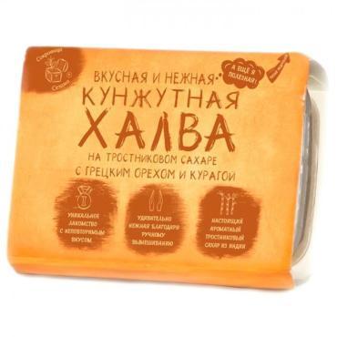 Халва кунжутная на тростниковом сахаре Сокровища Сезама с грецким орехом и курагой
