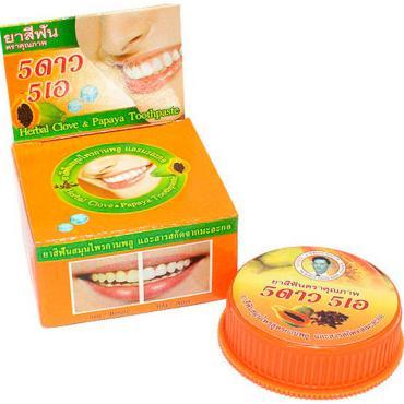 Зубная паста 5 Star травяная, с экстрактом Папайи,Отбеливающая