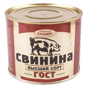 Тушеная Семейный Бюджет Свинина 500гр ж/б 1/12 ГОСТ выс. сорт