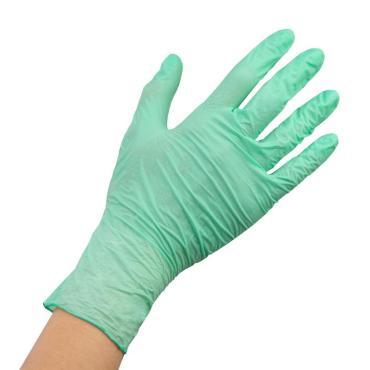 Перчатки нитриловые, неопудренные, текстурированные, зеленые, M