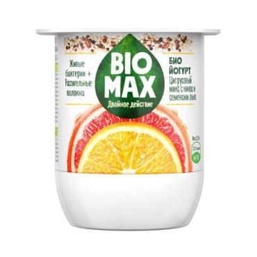 Биойогурт Цитрусовый микс-семена льна-киноа с инулином 2,4%, Bio Max, 125 гр, ПЭТ
