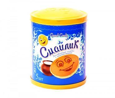 Оладьи бисквитные с молочной начинкой Grand Candy Смайлик, 40 гр., флоу-пак