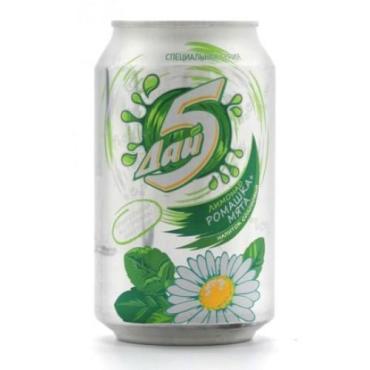 Лимонад напиток солодовый Букет Чувашии ромашка-мята, Россия, 330 мл., жестяная банка