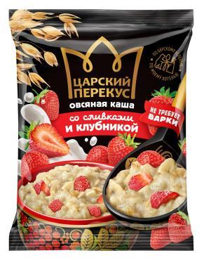 Каша овсяная со сливками и клубникой, Царский перекус, 35 гр., флоу -пак