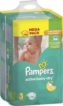 Подгузники Pampers Active Baby-Dry 5-9 кг размер 3