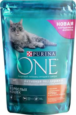 Корм сухой Purina One Для взрослых кошек с курицей и цельными злаками