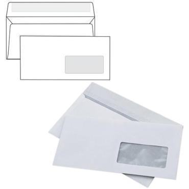 Конверты Курт Е65 110х220 мм. правое окно отрывная полоса белые внутренняя запечатка 1000 шт.