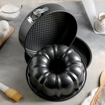 Набор форм для выпечки Доляна Кекс, круг, тарт 28×8 см., 3 шт., антипригарное покрытие
